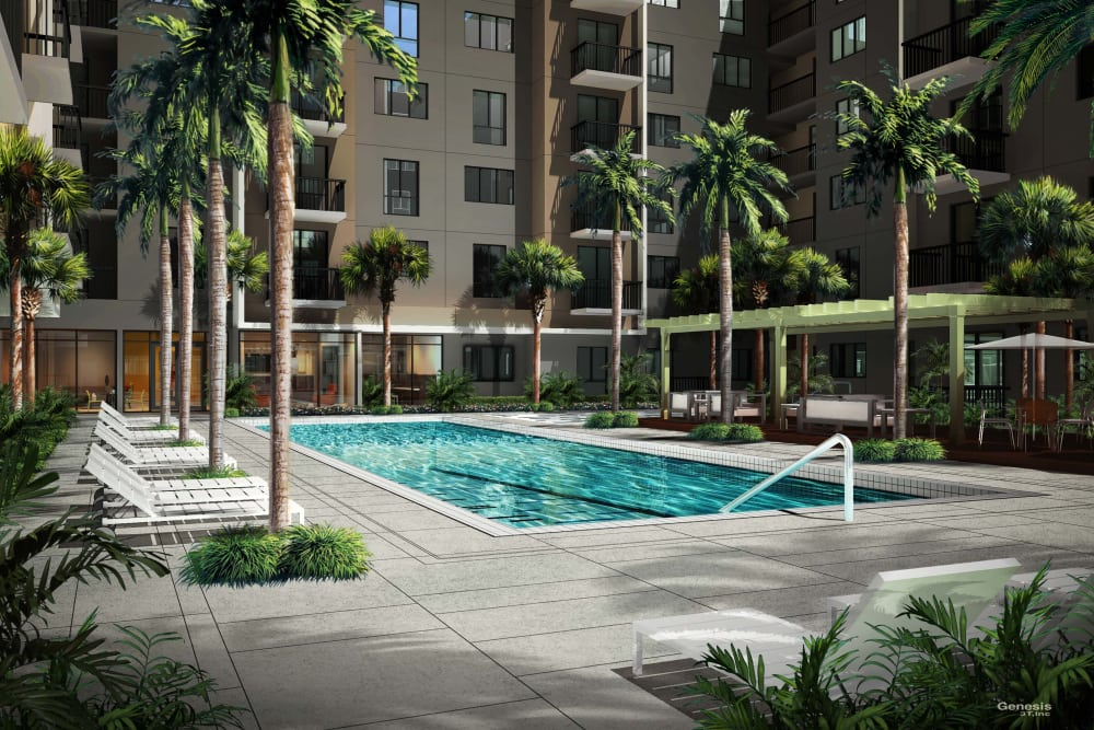Pool at apartments in Miami