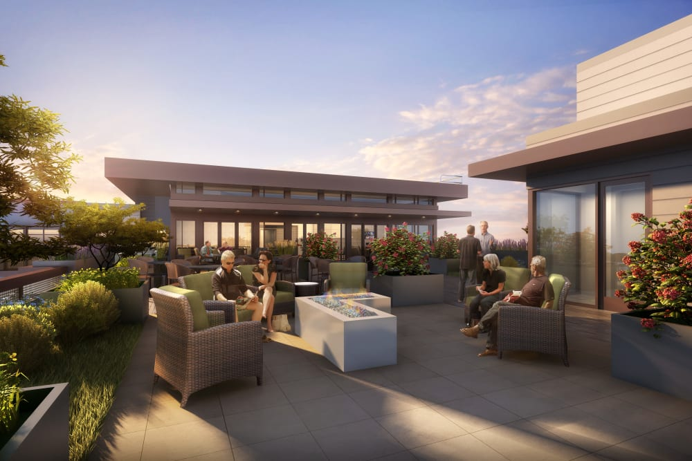 A rendering of the patio at Merrill Gardens at West Covina in West Covina, California.