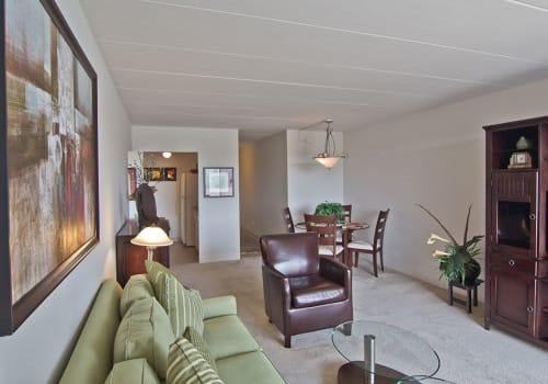 Bright, spacious living room at Park Towers Apartments in Richton Park, Illinois