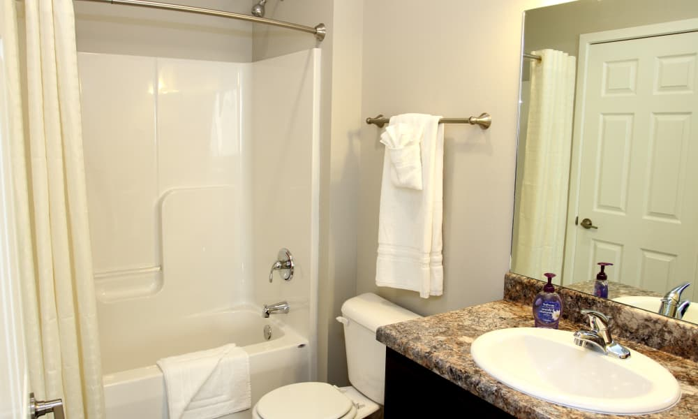 Bathroom layout at Johnston Gardens in Johnston, Iowa