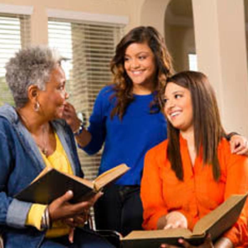 Senior woman and her family at Peninsula Reflections in Colma, California