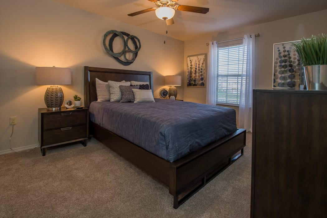 Spacious bedroom at Cottages at Crestview in Wichita, Kansas
