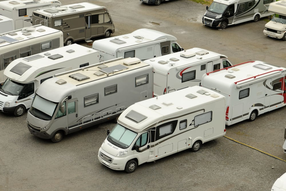 A variety of RVs parked at Canby RV & Boat Storage in Canby, Oregon