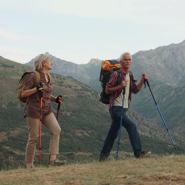 Resident couple hiking near Mountain Trail in Flagstaff, Arizona