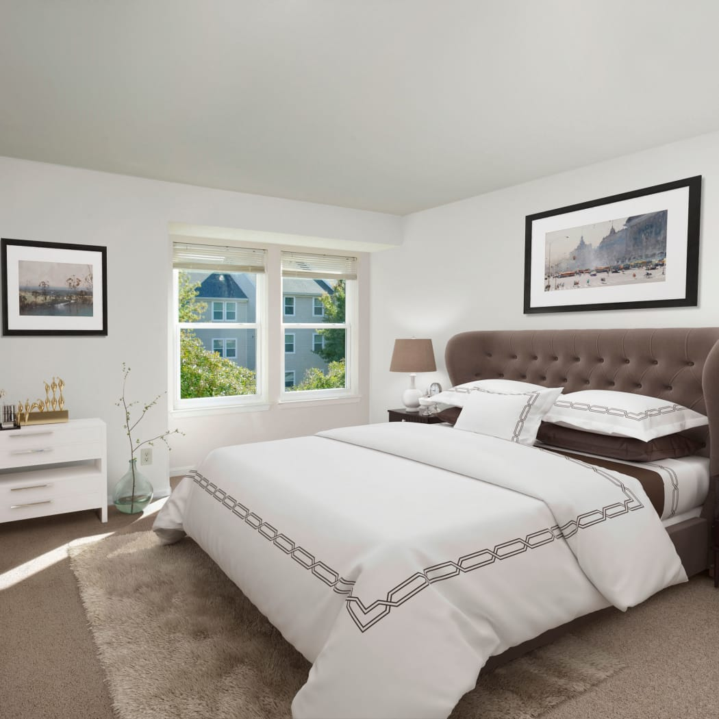 Gateway Village Apartments showcases a well decorated bedroom in Jessup, Maryland