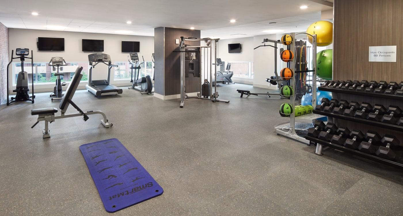 Modern fitness center at 19Twenty Apartments in Halifax, Nova Scotia