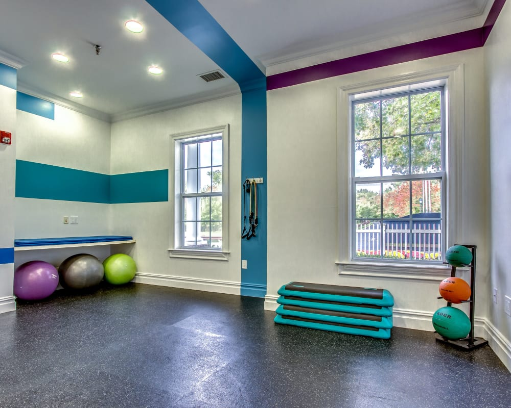 Fully equipped fitness center at Eagle Rock Apartments at Freehold in Freehold, New Jersey