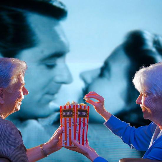 Residents watching a movie at Park Visalia in Visalia, California