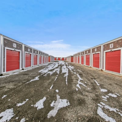 Outdoor ground floor units at Firehouse Self Storage in Loveland, Colorado