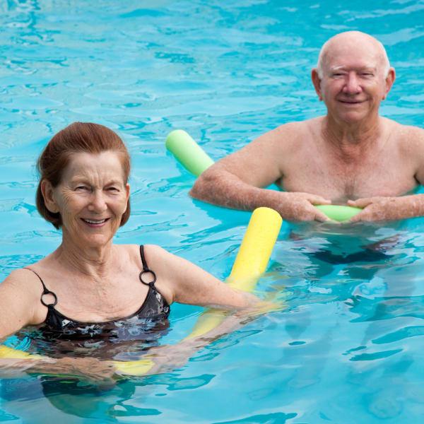 Residents enjoying the swimming pool at Sandpiper Village in Mt. Pleasant, South Carolina