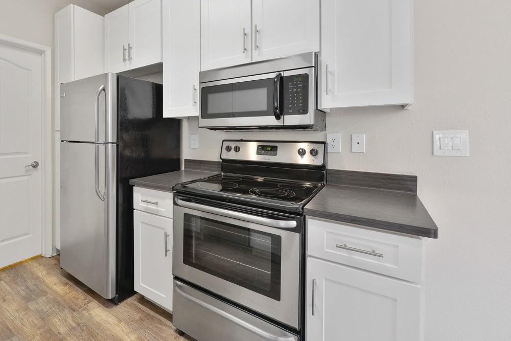 Apartment kitchen at Rosewalk in San Jose, California