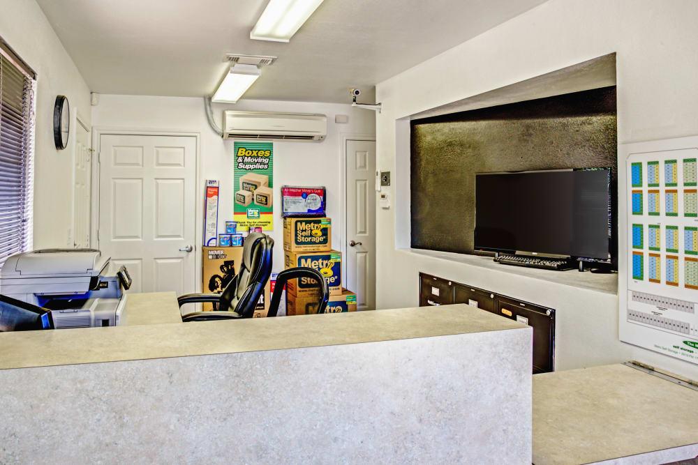 Office reception at Metro Self Storage in La Marque, Texas