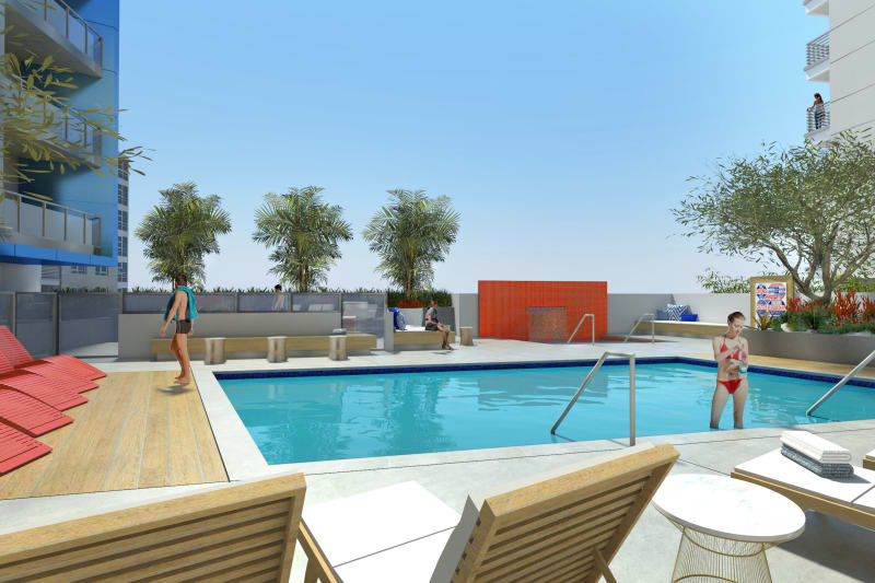 Pool deck at 1400 Fig in Los Angeles, California