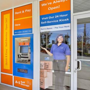 24-hour kiosk at A-1 Self Storage in Vista, California