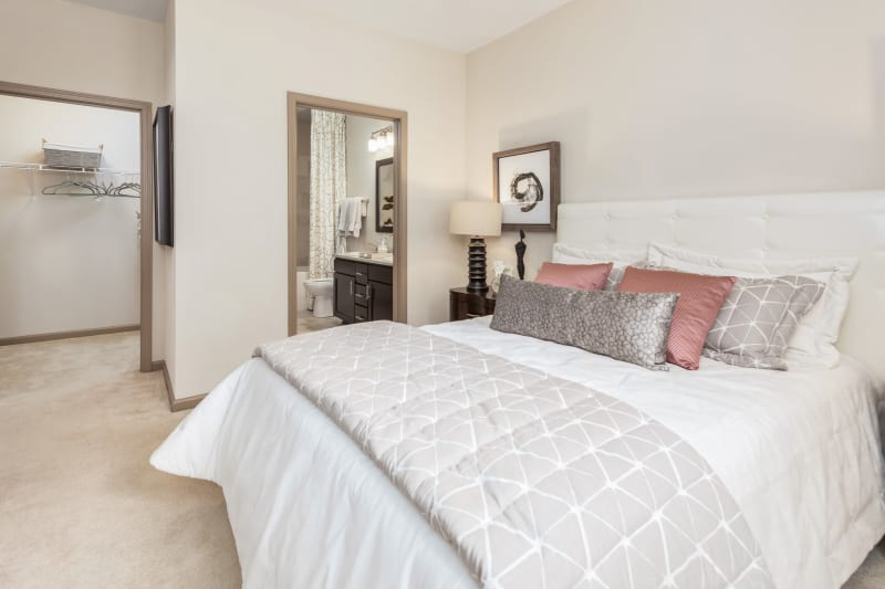Bright bedroom at The District in Charlotte, North Carolina