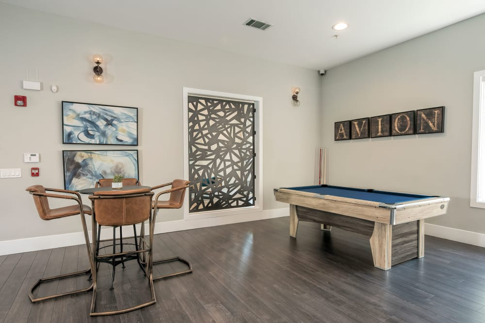 Pool table in clubhouse at Avion Apartments in Rancho Cordova, California