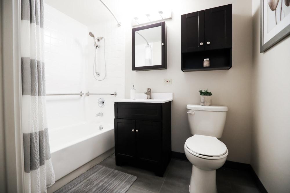 Modern bathroom layout at Halcyon House in Denver, Colorado
