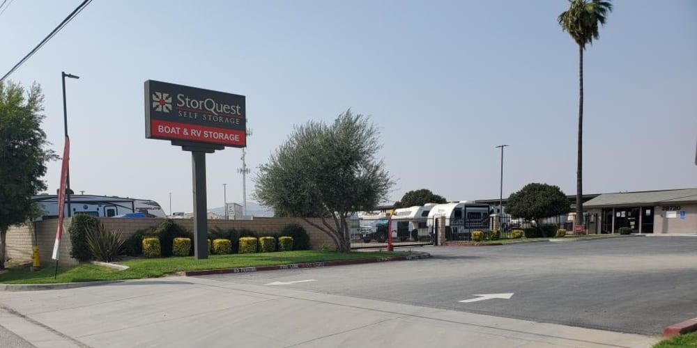 Exterior of the main entrance at StorQuest RV and Boat Storage in Moreno Valley, California
