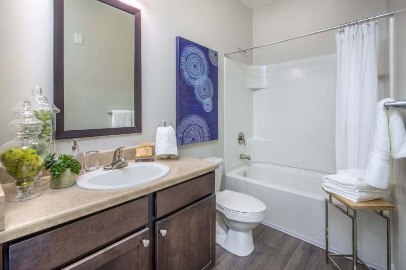 Sterling Town Center model bathroom with oval tub in Raleigh, North Carolina