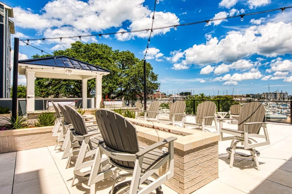 Clubhouse patio firepit with a view at Marina Villa in Norfolk, Virginia