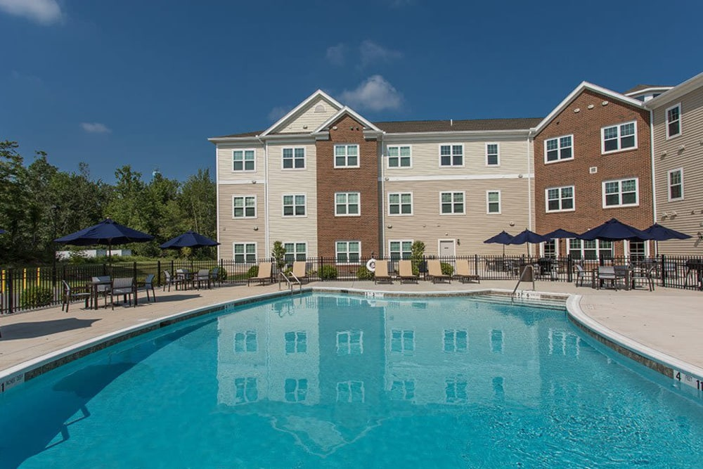 Beautiful swimming pool at apartments in Webster, NY