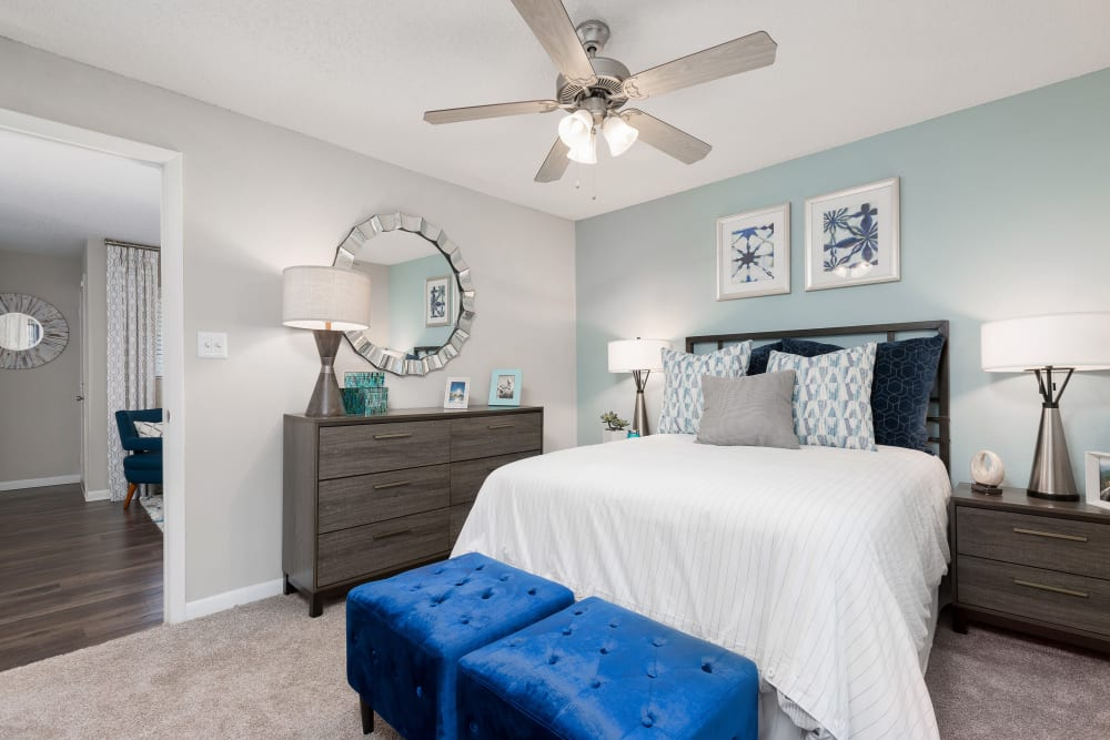 Well lit model bedroom at WestEnd At 76Ten in Tampa, Florida