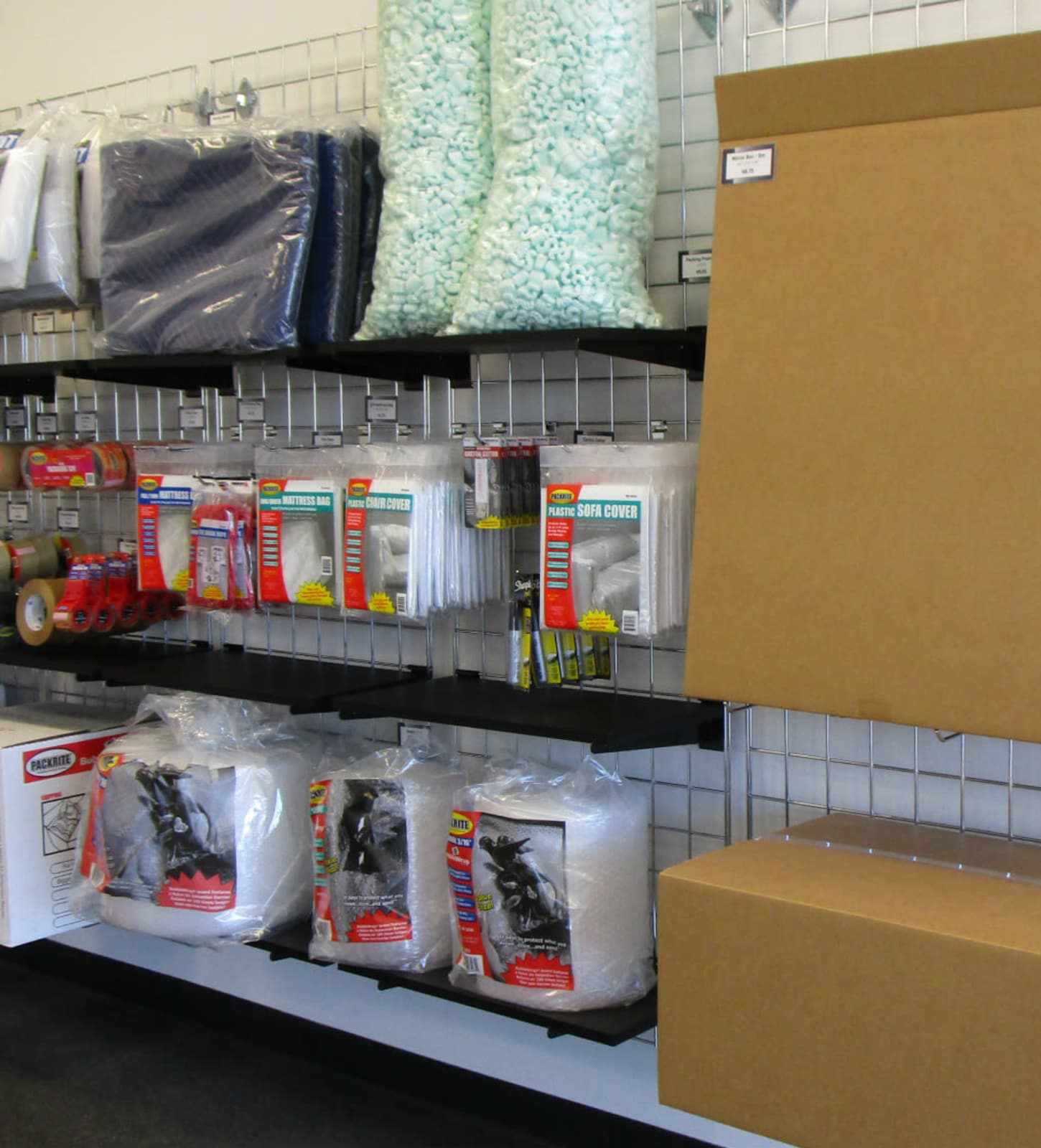 Storage boxes and packing supplies for sale at Park 'N' Space Self Storage