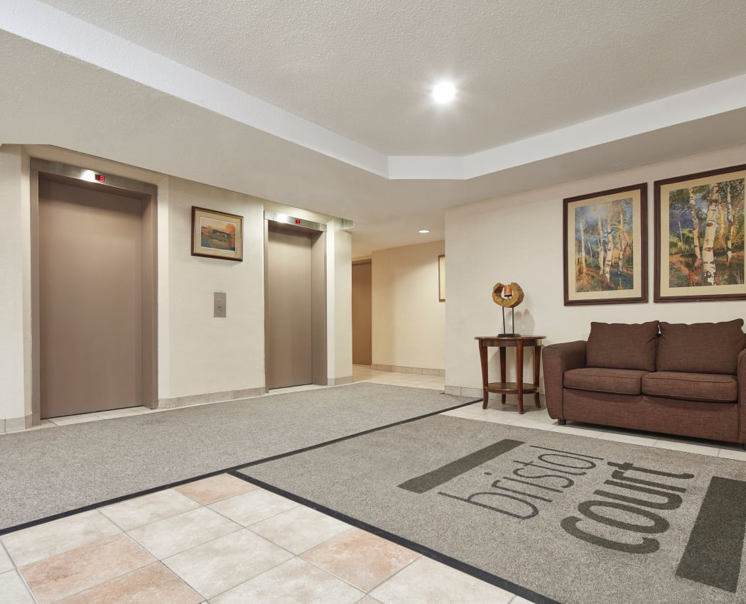 Elevator access at Bristol Court in Mississauga, Ontario