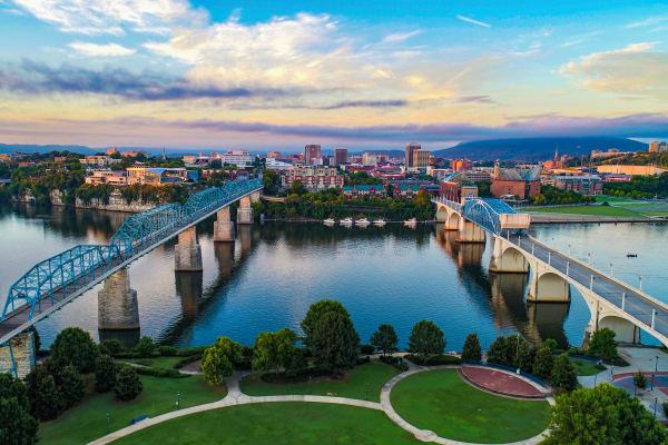 Beautiful views of Chattanooga in Tennessee near Vivid Lofts