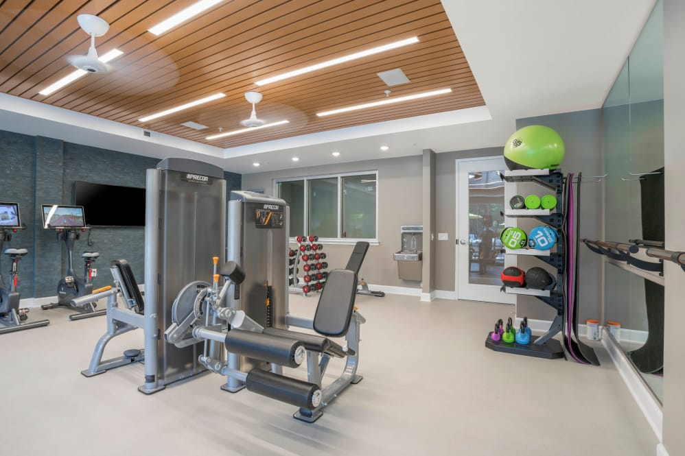 State-of-the-art fitness center at apartments in Newport News, Virginia