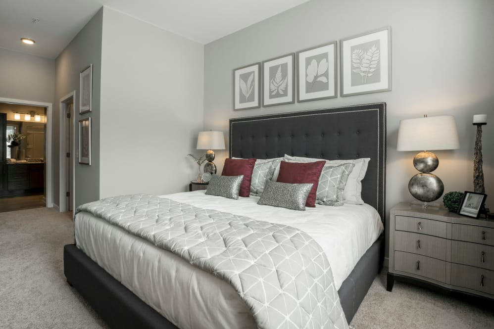 Cozy bedroom at apartments in Newport News, Virginia