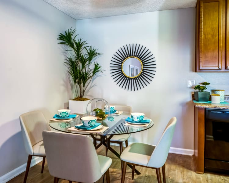 Dining nook next to the kitchen in a model home at Sofi Poway in Poway, California