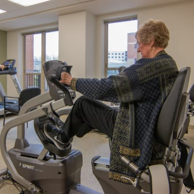 A resident working out at Aurora on France in Edina, Minnesota.