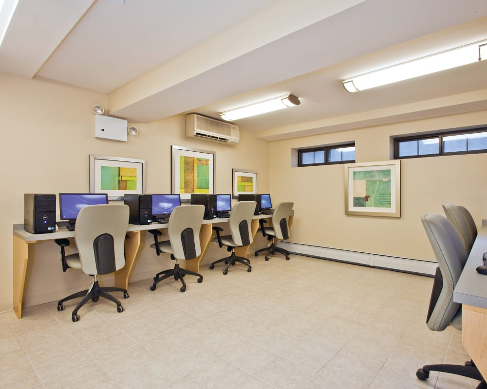 Computers in the business center of Markham Gardens in Staten Island, New York
