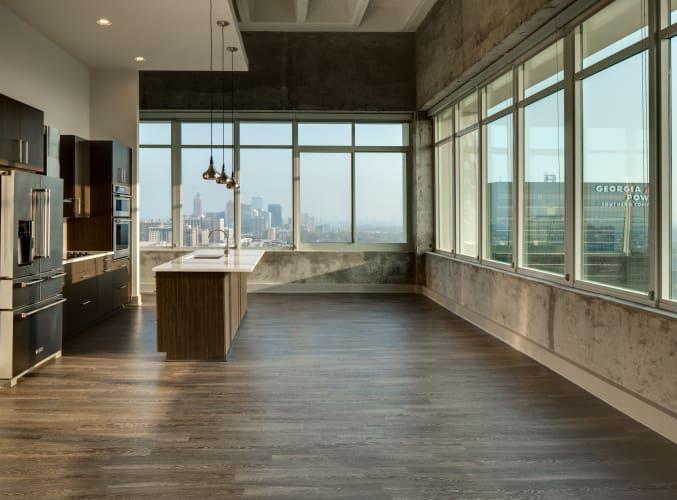 Beautiful hardwood floors at Altitude in Atlanta, GA