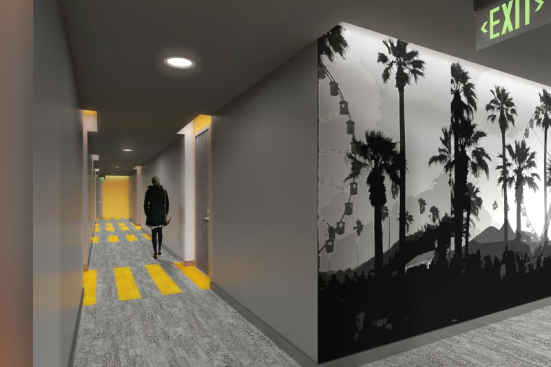Typical corridors at 1400 Fig in Los Angeles, California