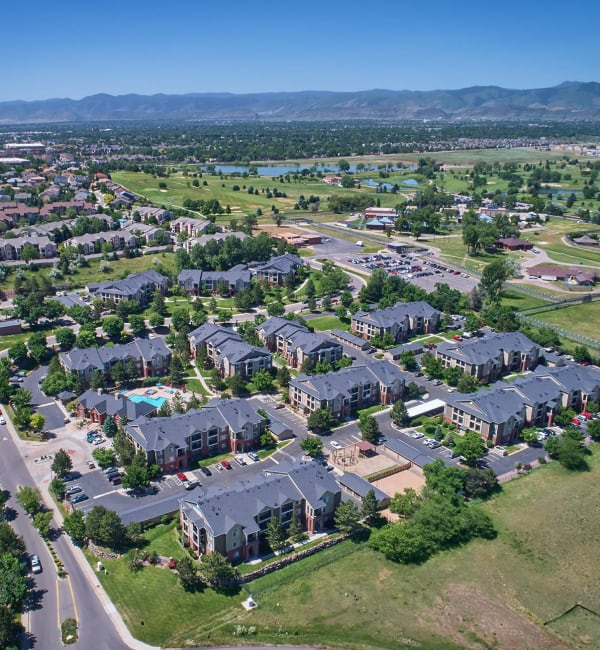 Aerial view of property at Skyecrest Apartments in Lakewood