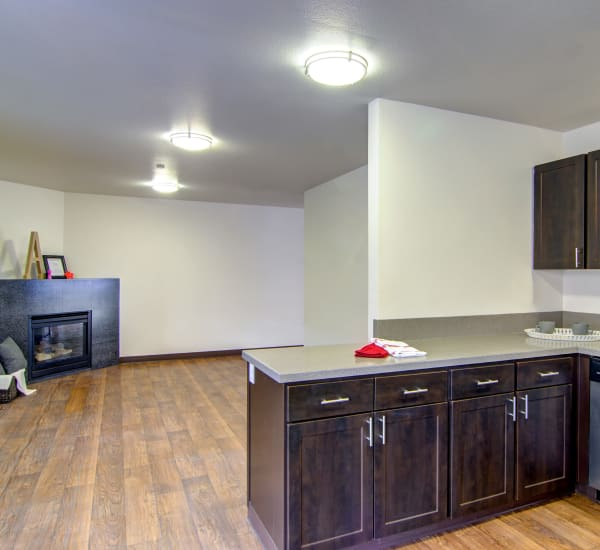 brown renovated Kitchen with living room view of fireplace at The Addison Apartments in Vancouver,