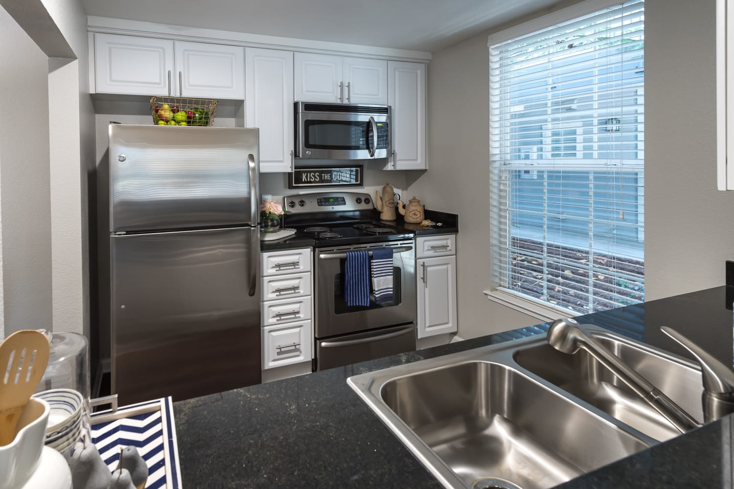 Upgraded kitchen at Nantucket Apartments in Santa Clara, California