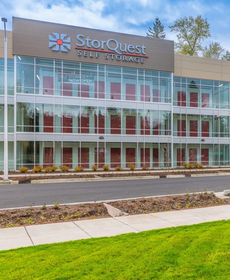 The exterior of StorQuest Self Storage in Portland, Oregon