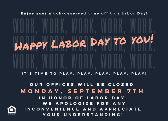 Community closed for Labor Day - September 7, 2020