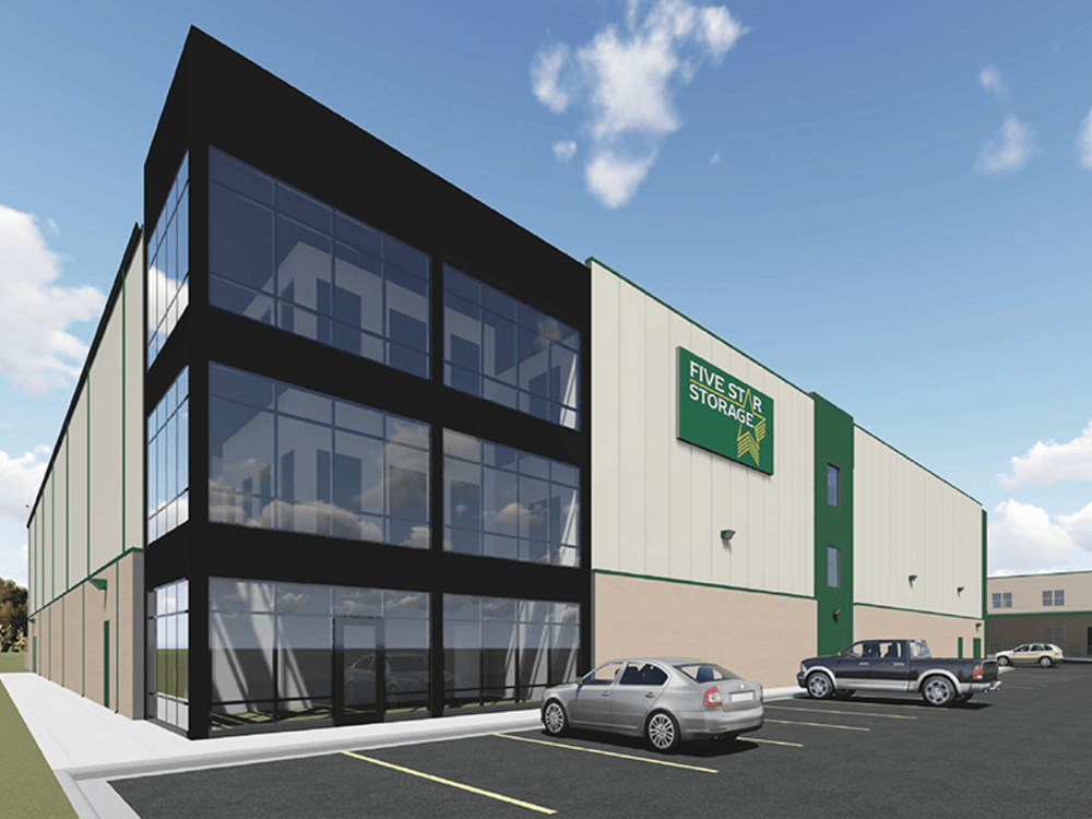 Exterior rendering of our self storage facility and parking lot in Saint Paul