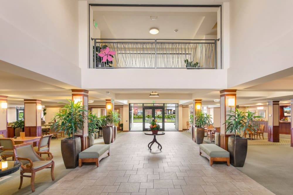 The lobby at Merrill Gardens at The University in Seattle, Washington.