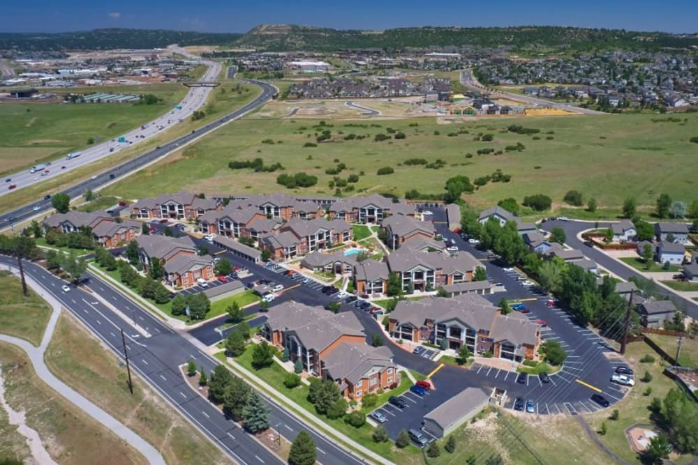 Aerial view at The Bluffs at Castle Rock Apartments