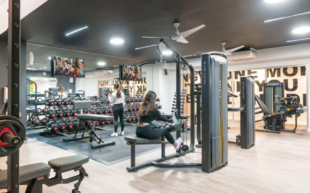 Fully equipped fitness center at The Link University City in Philadelphia, Pennsylvania