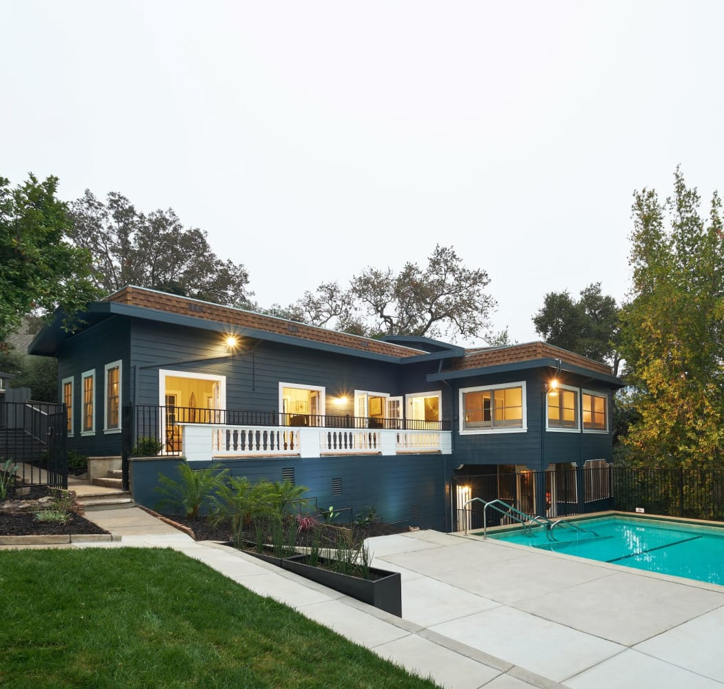 Clubhouse overlooking the swimming pool at Lexington Estates in Los Gatos, California