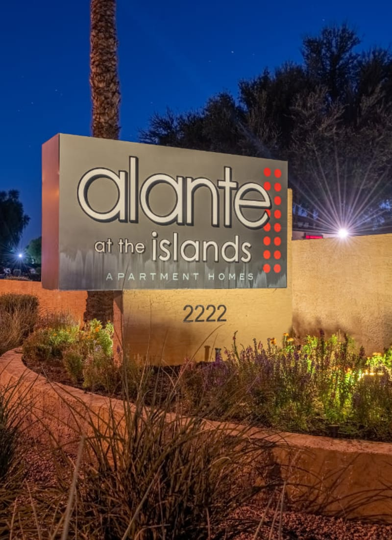 Entrance sign to Alante at the Islands in Chandler, Arizona