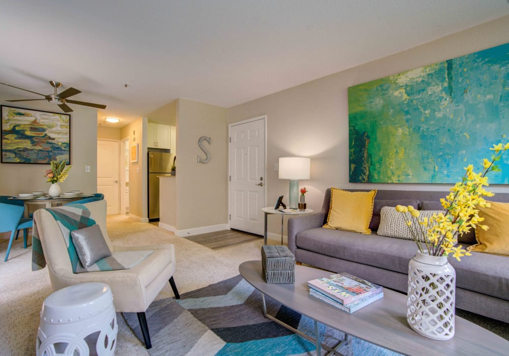 Spacious and modern open-concept floor plan in a model home at Sofi Sunnyvale in Sunnyvale, California