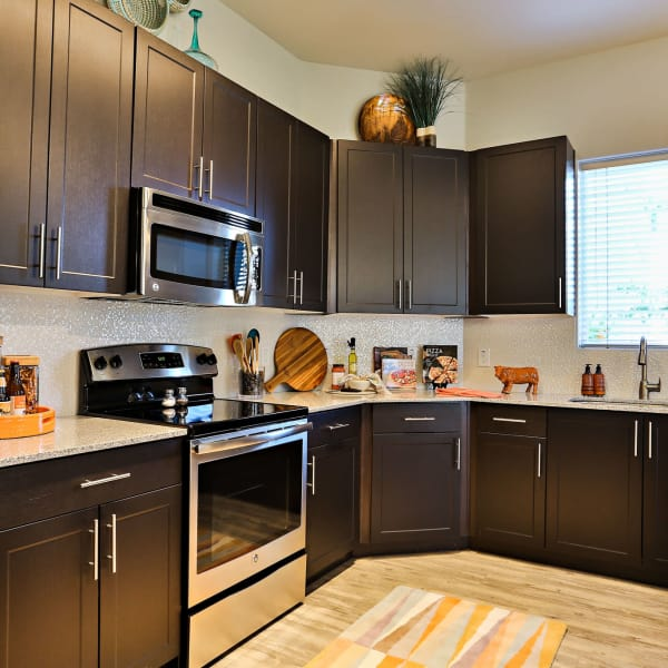Stainless-steel appliances in the kitchen at The Hyve in Tempe, Arizona