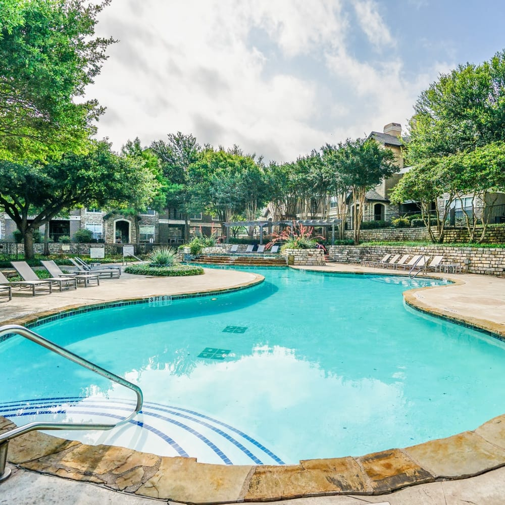 Gorgeous swimming pool area on a beautiful day at Beck at Wells Branch in Austin, Texas